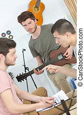 chitarra, casa, gioco, uomo