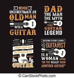 chitarra, citazione, e, saying., set, di, chitarra,...