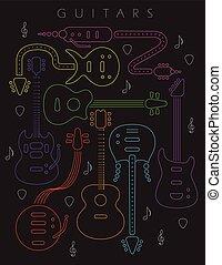 chitarra, colori, neon, illustrazione