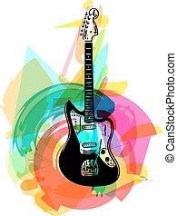chitarra, colorito, elettrico, illustrazione
