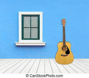 chitarra, con, finestra, su, cemento, parete