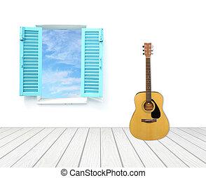 chitarra, con, finestra, su, cemento, parete, e, pavimento legno