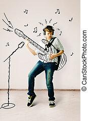 chitarra, disegnato, gioco
