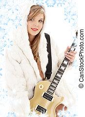 chitarra, dorato, ragazza, pelliccia