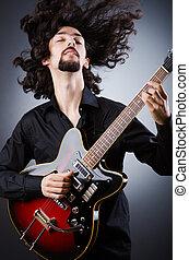 chitarra, durante, uomo, concerto, gioco