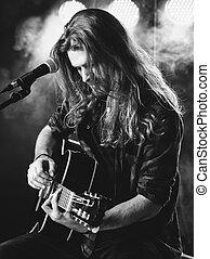 chitarra esegue, palcoscenico