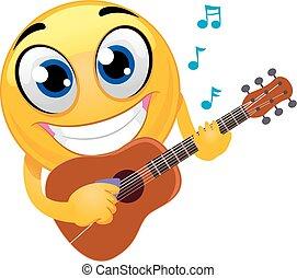 chitarra esegue, smiley, emoticon