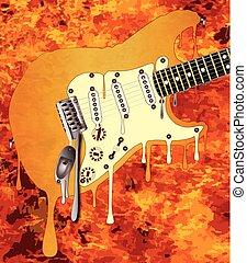 chitarra, fusione, fiamme