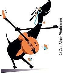 chitarra, giochi, cartone animato, illustrazione, cane