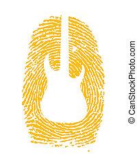 chitarra, icona, esso, impronta pollice