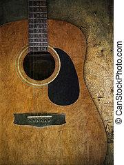 chitarra, legno, vecchio, textured