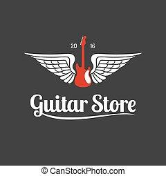 chitarra, logotipo, vettore, negozio, sagoma