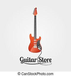 chitarra, logotipo, vettore, negozio