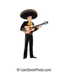 chitarra, mariachi, cappello, musicista, sombrero, gioco