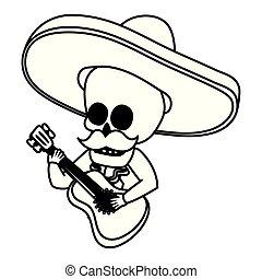 chitarra, messicano, mariachi, gioco, cranio