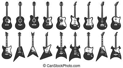 chitarra, musica, acustico, guitars., roccia, silhouette, bianco, strumenti, stringhe, chitarre, nero, icone, set, vettore, stampino, elettrico