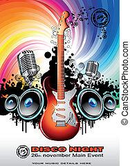 chitarra, musica, elettrico, fondo