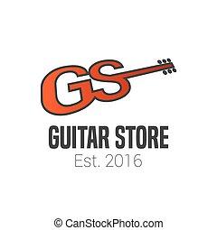 chitarra, negozio, vettore, logotipo