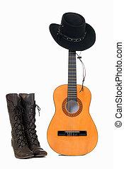 chitarra, paese, cappello, occidentale, &