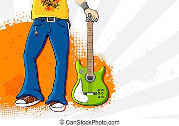 chitarra, presa a terra, uomo