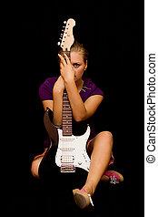 chitarra, ragazza, basso