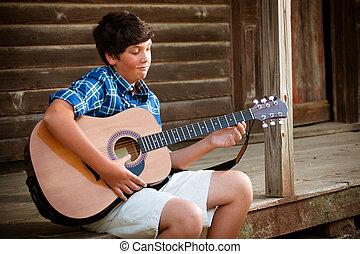 chitarra, ragazzo, adolescente, gioco