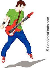 chitarra, ragazzo, giocatore