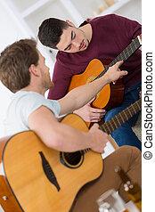 chitarra, riposare, amici, gioco, casa
