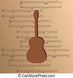 chitarra, ritagliare, di, carta, -, vettore, musica, fondo, con, note