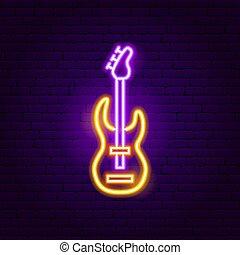 chitarra, roccia, segno neon