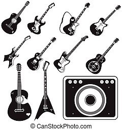 chitarra, set, amplificatore, icone
