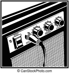 chitarra, simbolo, amplificatore
