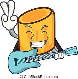 chitarra, stile, mascotte, cartone animato, rigatoni