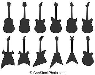 chitarra, strumenti, acustico, musicale, silhouette, jazz, chitarre, roccia, silhouette., forma, set, vettore, elettrico