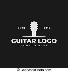 chitarra, vendemmia, negozio, disegno, concerto, retro, acustico, musica, logotipo