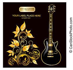 chitarra, vettore, illustrazione
