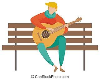 chitarra, vettore, musicista, panca, gioco, legno