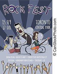 chitarrista, pesante, cantante, illustration., festival., manifesto, tamburino, characters., vettore, musica, sagoma, roccia, band.