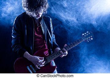 chitarrista, roccia