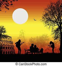 chitarristi, amanti, tramonto, gioco, roma