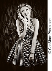 chitchat - Charming pin-up woman with retro hairstyle and ...