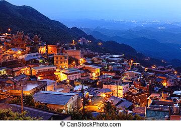 chiu, fen, vila, à noite, em, taiwan