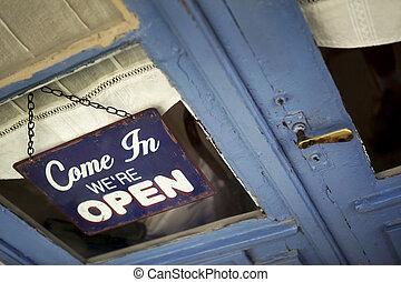 chiudere, aperto, su, segno