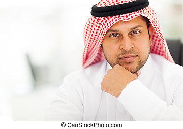 chiudere, arabo, bello, su, uomo affari