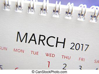 chiudere, calendario, 2017, marzo, su