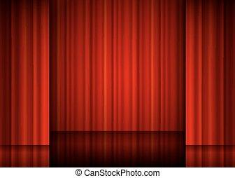 chiudere, curtain., rosso, vista