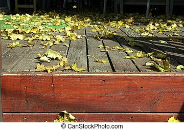 chiudere, foglie, su, ponte