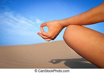 chiudere, meditazione, su