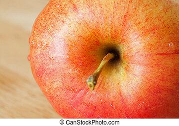 chiudere, mela, rosso, su