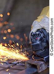 chiudere, metallo, su, sawing